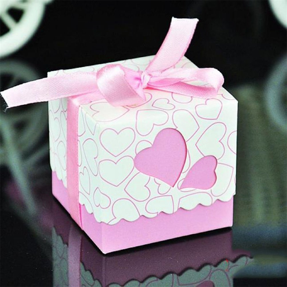 Amazon.com: Sugawin 50pcs Hollow Out Love Heart Bowknot Pattern ...