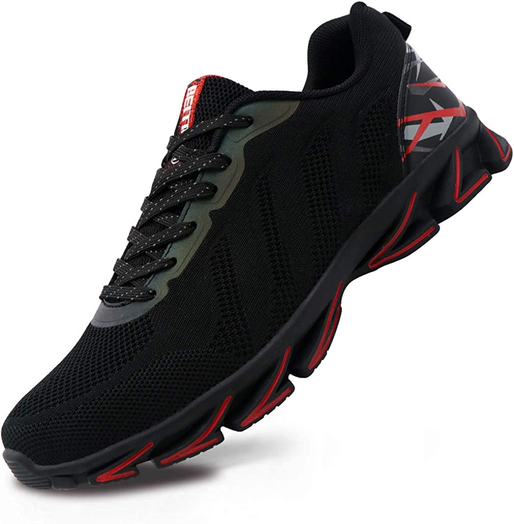 Beita Mens Walking Shoes Slip On Blade Mesh Fashion Sneakers Athletic Back to School Cross Training Road Running Casual Walking Shoe for Men Black Red