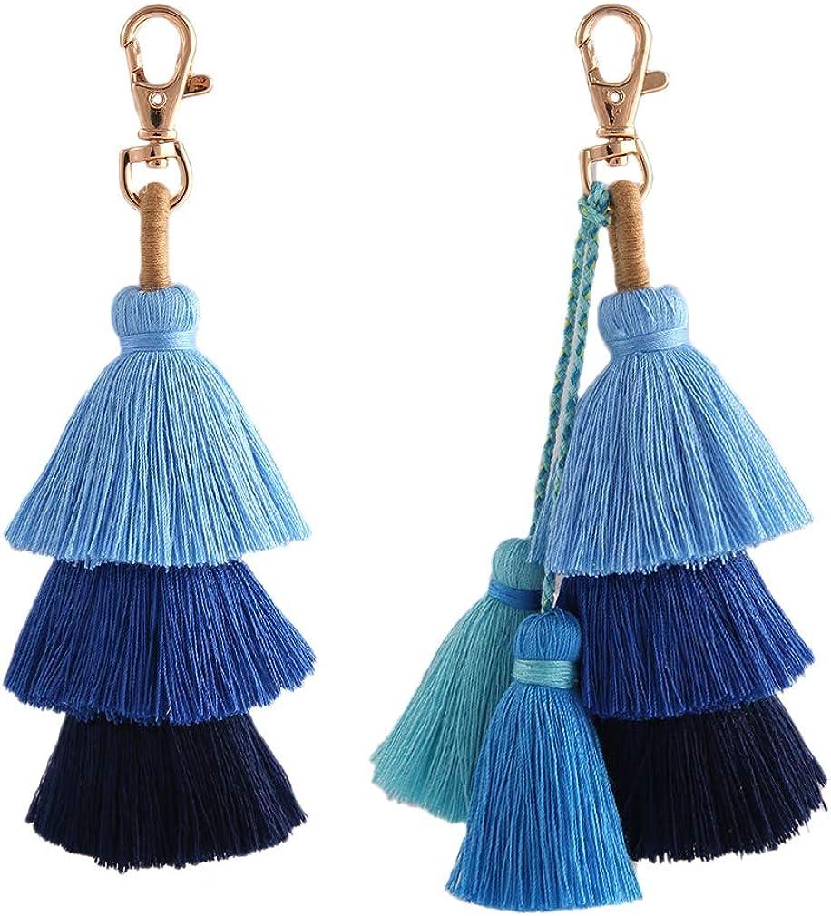 Colorful Bohemian Tassel Pendant Bag Charm Car Keychain Shoulder Bags Handbag
