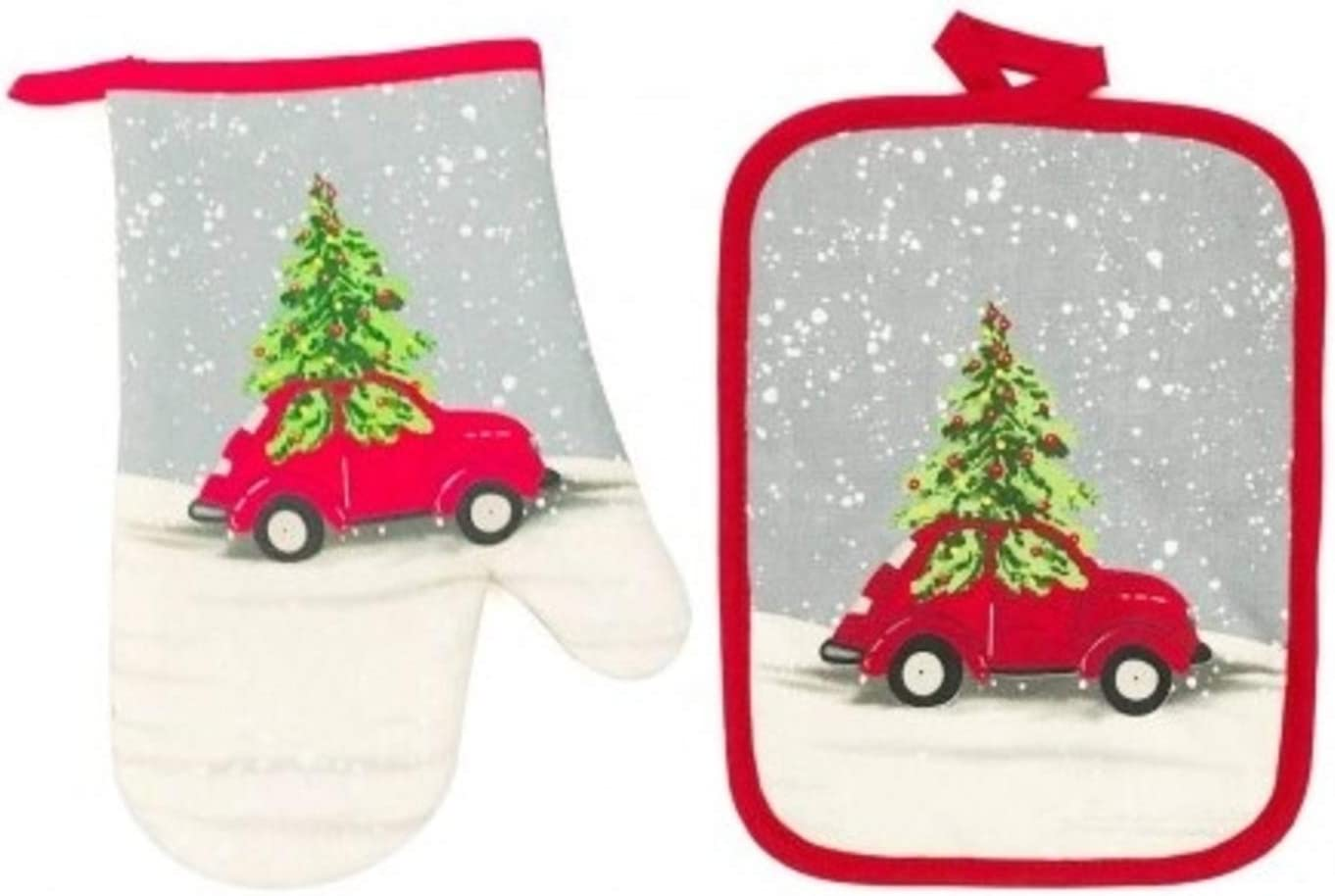 Retro Red Car with Tree Christmas Oven Mitt and Potholder Set, Holiday Kitchen Decor Baking Pot Holder Bundle (2 Pieces)