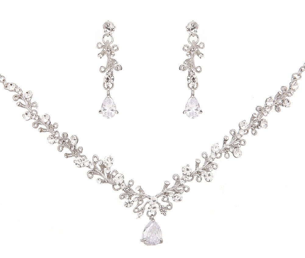 Wedding Jewelry Sets Bride Necklace and Earrings Clear Crystal Party Accessories