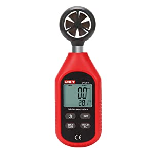 UNI-T UT363 Handheld Anemometer Wind Speed Meter Wind Chill Air Temperature Gauge -14°F to 122°F (-10°C to 50°C) with LCD Backlit Max/Avg Data Hold