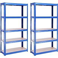 G-Rack – Estantería de Almacenamiento, Azul, 150 x 75 x 30 cm, Set de 2 Piezas