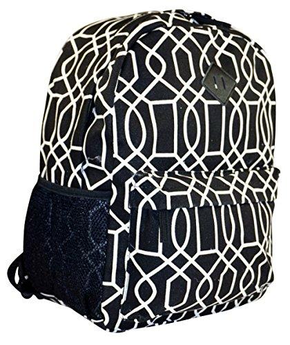 Ever Moda Geometric Canvas Backpack (Black)