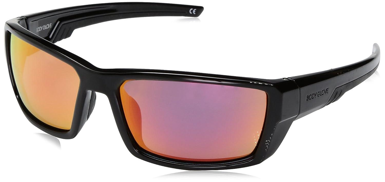 Body Glove Vapor 23 Polarized Wrap Sunglasses, Shiny Black, 60 mm