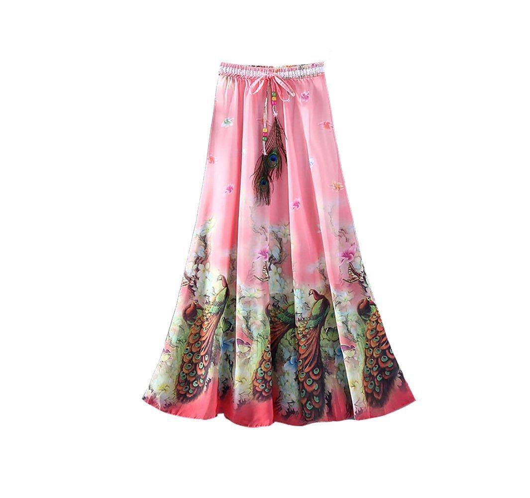 Eleter Girl's Beautiful Flowy Summer Chiffon Long Maxi Skirt (Pink)