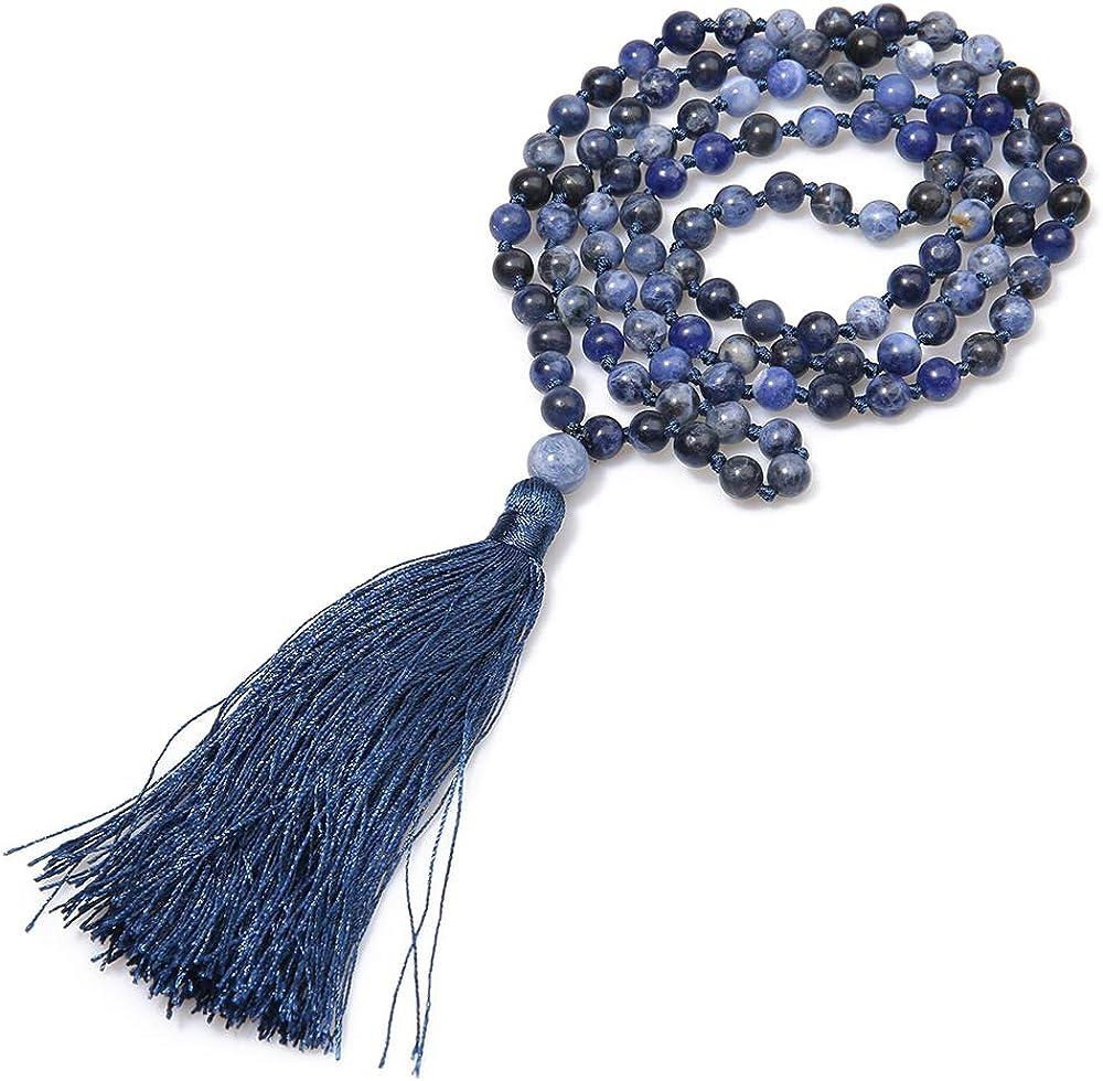 BALIBALI 6MM Mala Beads Necklace Natural Stone Meditation Statement Necklace Japa Yoga Rosary Prayer Charm Beaded Tassel Necklace