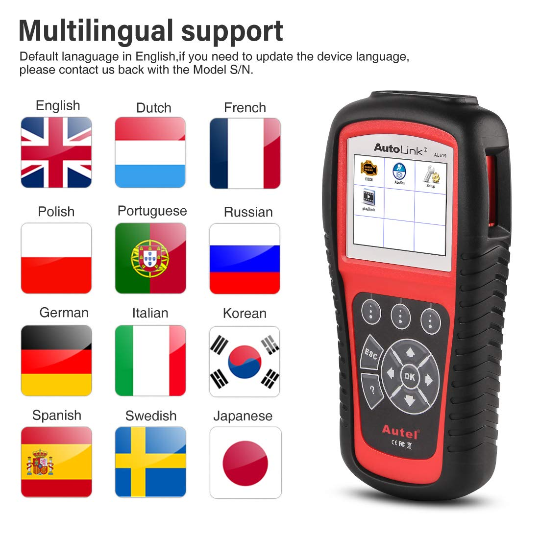 Autel AutoLink AL619 OBD2 Scanner ABS/SRS Diagnostic Scan Tool,Turns Off Engine Light (MIL) and ABS/SRS Warning Lights,Same Function as The ML619 Code Reader by Autel (Image #7)