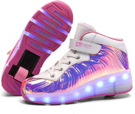 Blinking Shoes for Girls LED Fashion Sneakers Become Sport Sneaker with Led for Children Gift Kids Light Up Wheels Roller Shoes Skates