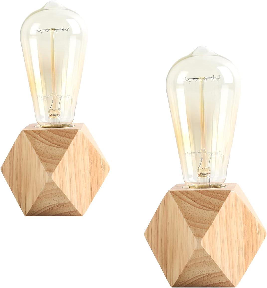 OuXean 2 uds.Lámpara de mesa pequeña Lámpara de noche con base de madera de diamante junto a la lámpara, E27 60W Perfecta para dormitorio, salón u oficina (sin bombilla)