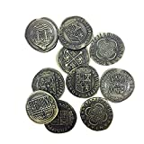 Pirate Doubloons Variety Set of 10 (Metal plated novelty) Adventure Coins For RPGs / LARP | DnD Pathfinder Live Action Role Playing GamesTreasure Booty