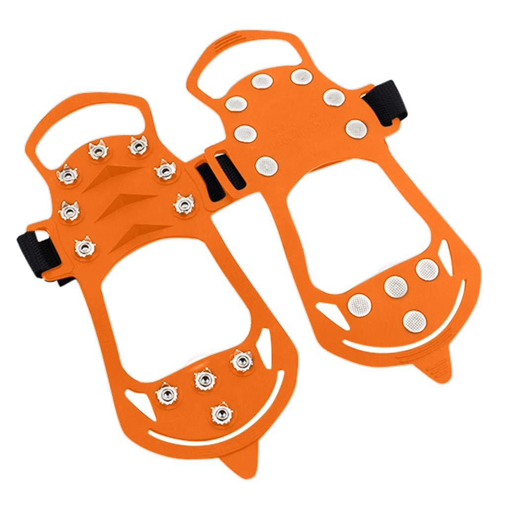 Lljin Non-Slip Snow Cleats Shoes Boots Cover Step Ice Spikes Grips Crampons for Hiking (Orange, S)