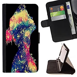- Space Girl Art - - Style PU Leather Case Wallet Flip Stand Flap Closure Cover FOR Sony Xperia M2 - Devil Case -