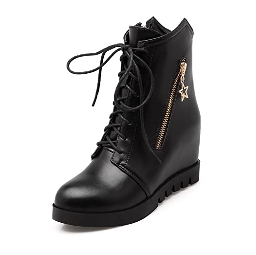 Women's Soft Material Round Closed Toe Solid Low-top High-Heels Boots with Metal