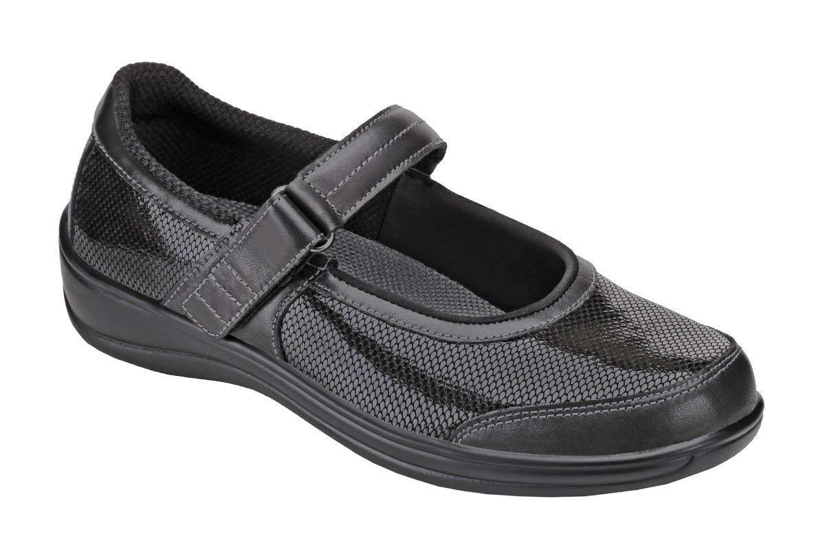 Orthofeet Proven Heel Pain Relief Orthopedic Diabetic Flat Feet Womens Oakridge Mary Jane Shoe Black