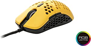 HK Gaming Mira S Ultra Lightweight Honeycomb Shell Wired Gaming Mouse - 6 Buttons - 2.1 oz (61 g) (12 000 cpi, Bumblebee)