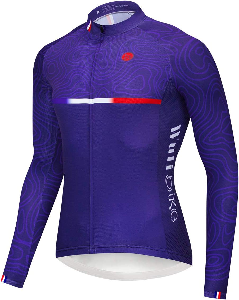 logas Hombres Francia Marino Azul Cilindro de Camiseta Manga Larga MTB Bicicleta Jersey con dise/ño Exclusivo tigen Ripple Impresiones