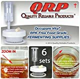 6 QRP No Messy Overflow No Weights Needed Mold-Proof Mason Jar Fermentation Kits with Exclusive Food Retainer Cups keep food submerged in brine (6 WIDE MOUTH KITS)