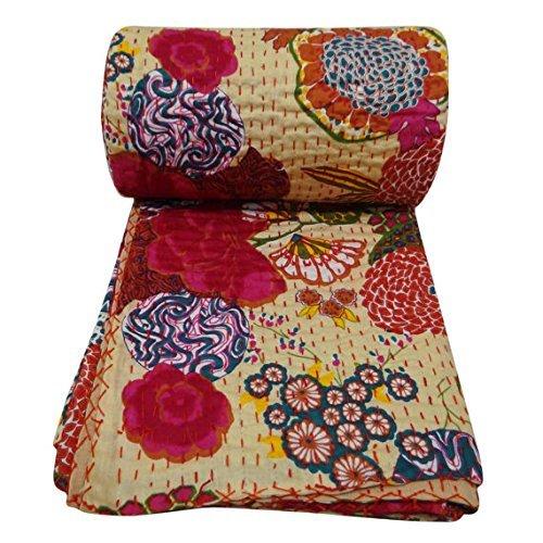 Indian Cotton Quilt Floral Pattern Beige Home Décor Kantha Bedspread, Indian Gudari Handmade Tapestry, Floral Print Decorative Kantha Stitch Quilt , 6…