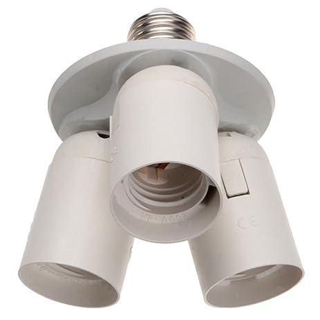 ABI 3 to 1 Light Socket E26 Splitter Lamp Base Adapter for Standard LED and  CFL