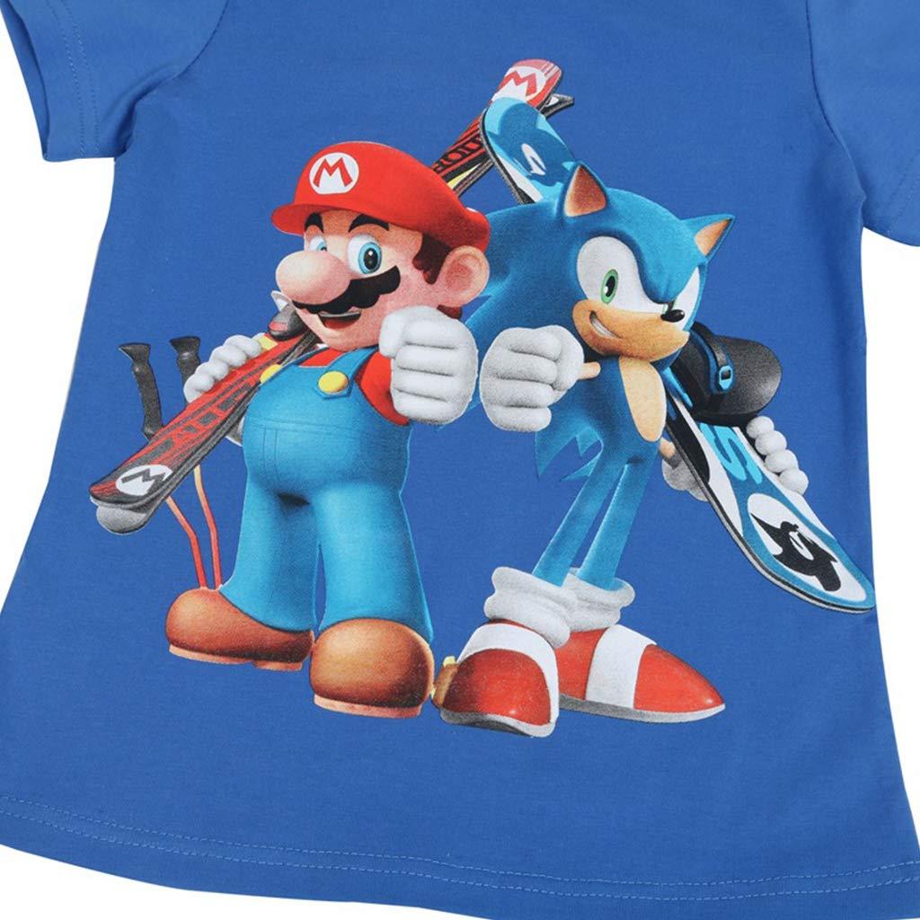 KIACIYA Elegante Super Mario Maglietta per Bambini,Super Mario Bros Manica Corta Estate T-Shirt Tee Camicia Tops Camicetta Blusa Maglietta da Ragazzi E Ragazzo