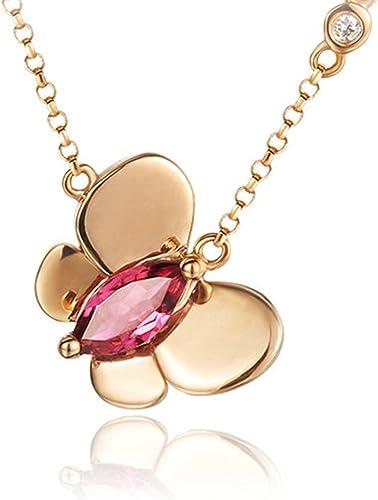 Natural Tourmaline Gemstones 18K Rose Gold Plated 925 Sterling Silver Necklace
