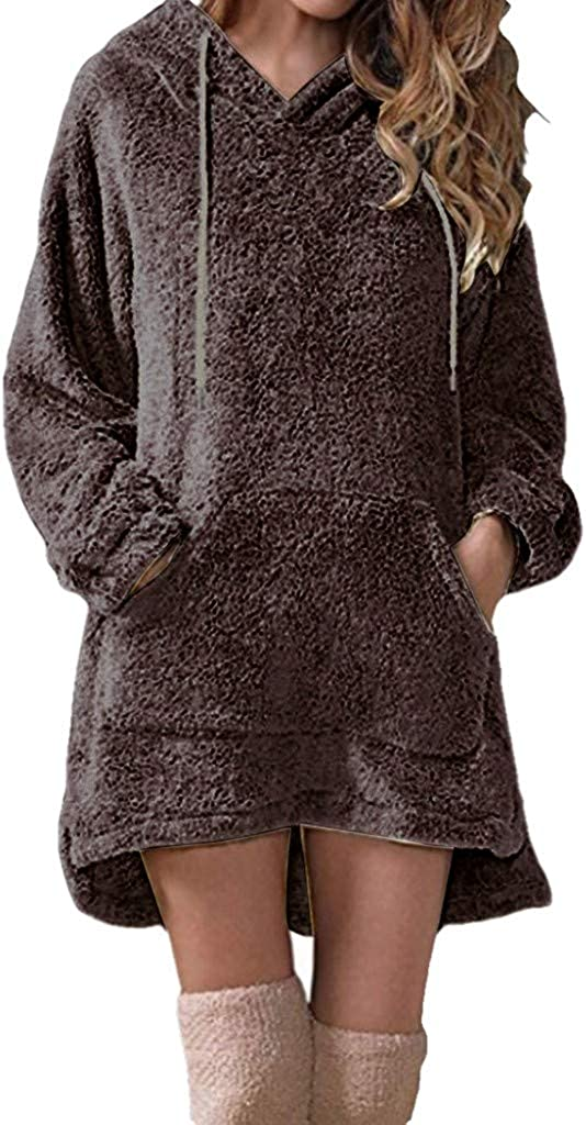 REDMAKER Solid Long Sleeve Hoodie Faux Fleece Warm Sweatshirts for Women with Pocket Drawstring V Neck Blouse Tops