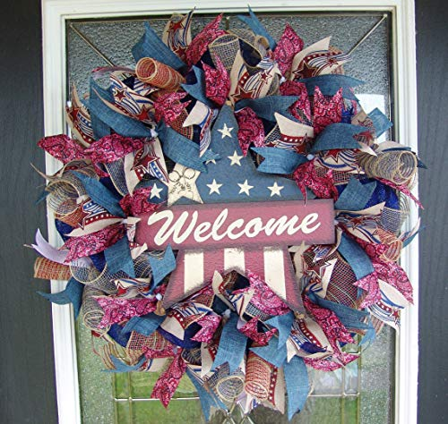 Patriotic 4th of July Deco Mesh Front Door Wreath, Welcome Star, Country Farmhouse, Memorial Day, Labor Day, Fourth Decor, Indoor Outdoor, Porch Patio Decoration, RWB -