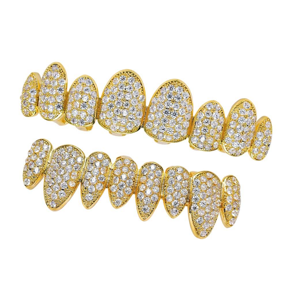 SM SunniMix 18K Gold Plated CZ Grills 8 Teeth Mouth Caps Grills Joker Top Bottom Rock - Gold