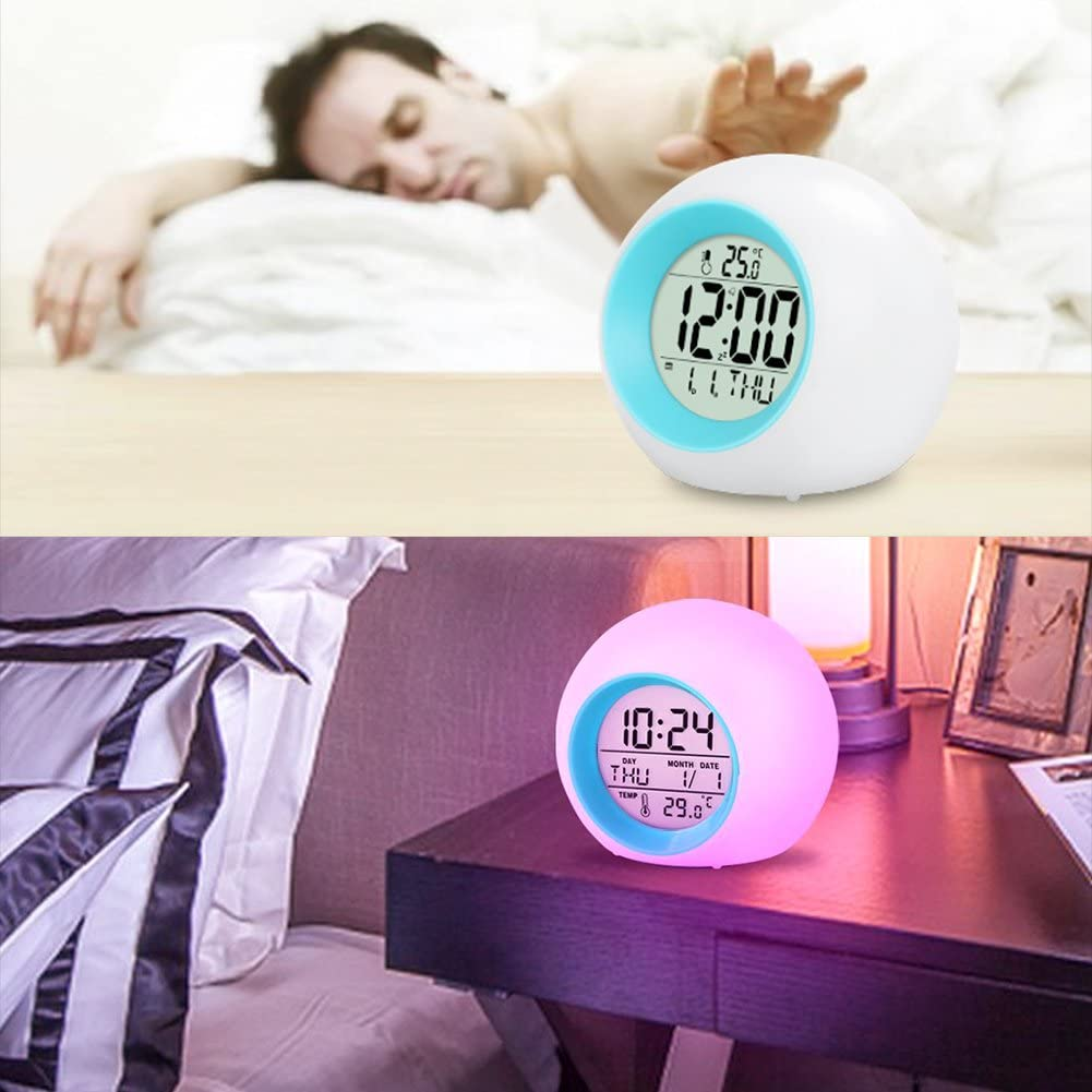 r/éveil num/érique r/éveil l/éger r/éveil cr/éatif 7 Couleurs changeantes lumi/ère r/éveil /écran LCD Horloge de Chevet LAOZI Horloges pour Enfants