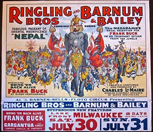 RINGLING BROTHERS BARNUM BAILEY NEPAL -ORIGINAL 1938 CIRCUS LB POSTER- RARE