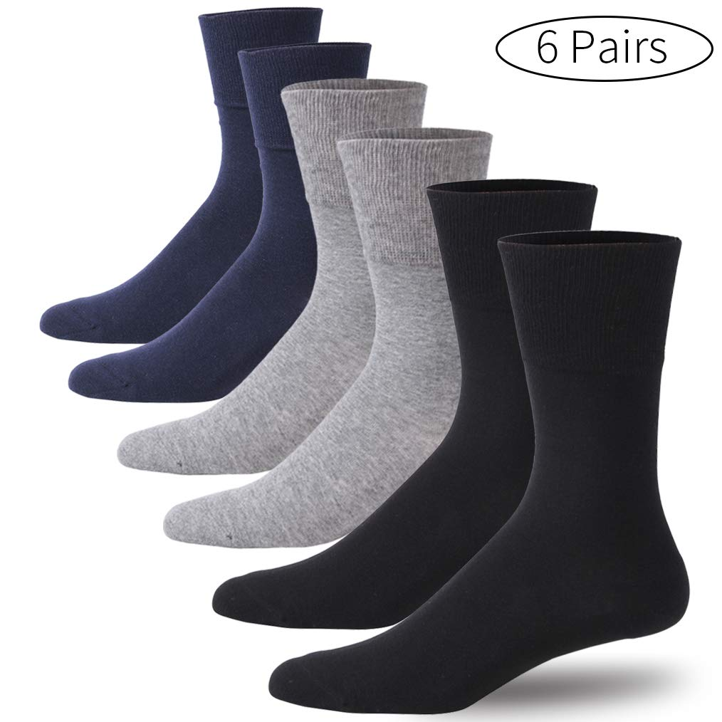 Forcool Men's Women's 6 Pack Diabetic Socks, Non Binding Flat Knit Dress Socks Extra Wide Crew Mid Calf Diabetes Cotton Socks with Seamless Toe, Black/Gray/Navy Blue X Large by Forcool