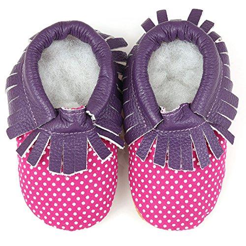 AUGUSTA BABY Soft Sole Polka-Dot Fringe Baby Boy Girl Bootie Socks - Purple - 6-6.5 M US Toddler