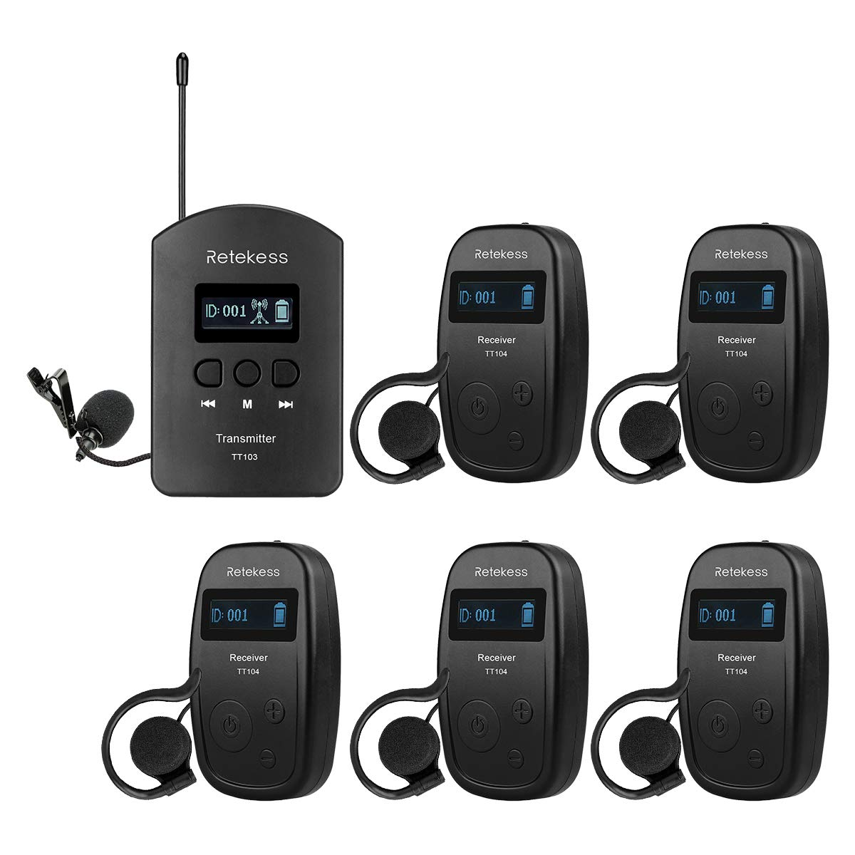 Retekess TT103 Church Translation Wireless Tour Guide System Audio Interpretation 460ft 140m Range for Tour Church Court(1 Transmitter and 5 Receiver) by Retekess
