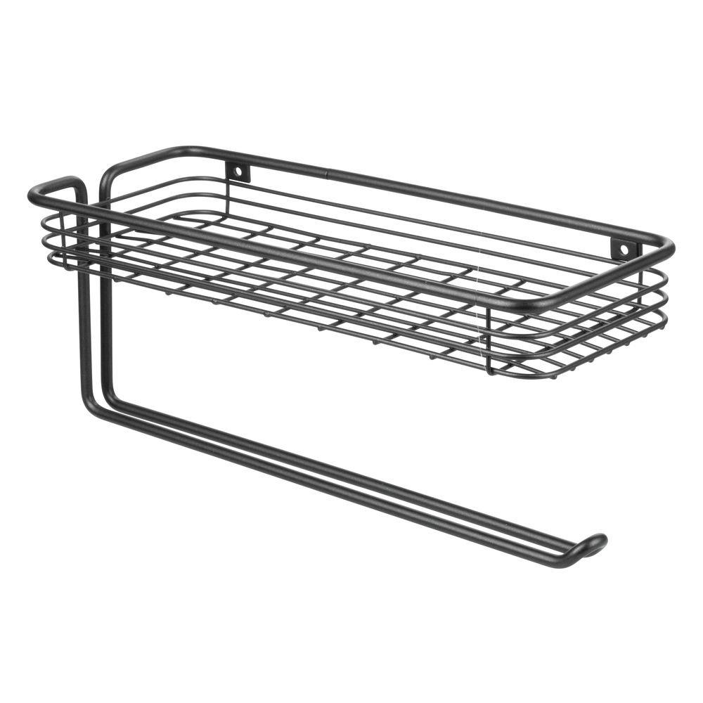 Moderno Organizador para Cocina de Metal Negro Mate mDesign Portarrollos de Papel de Cocina de Pared con especiero Soporte para Papel de Cocina