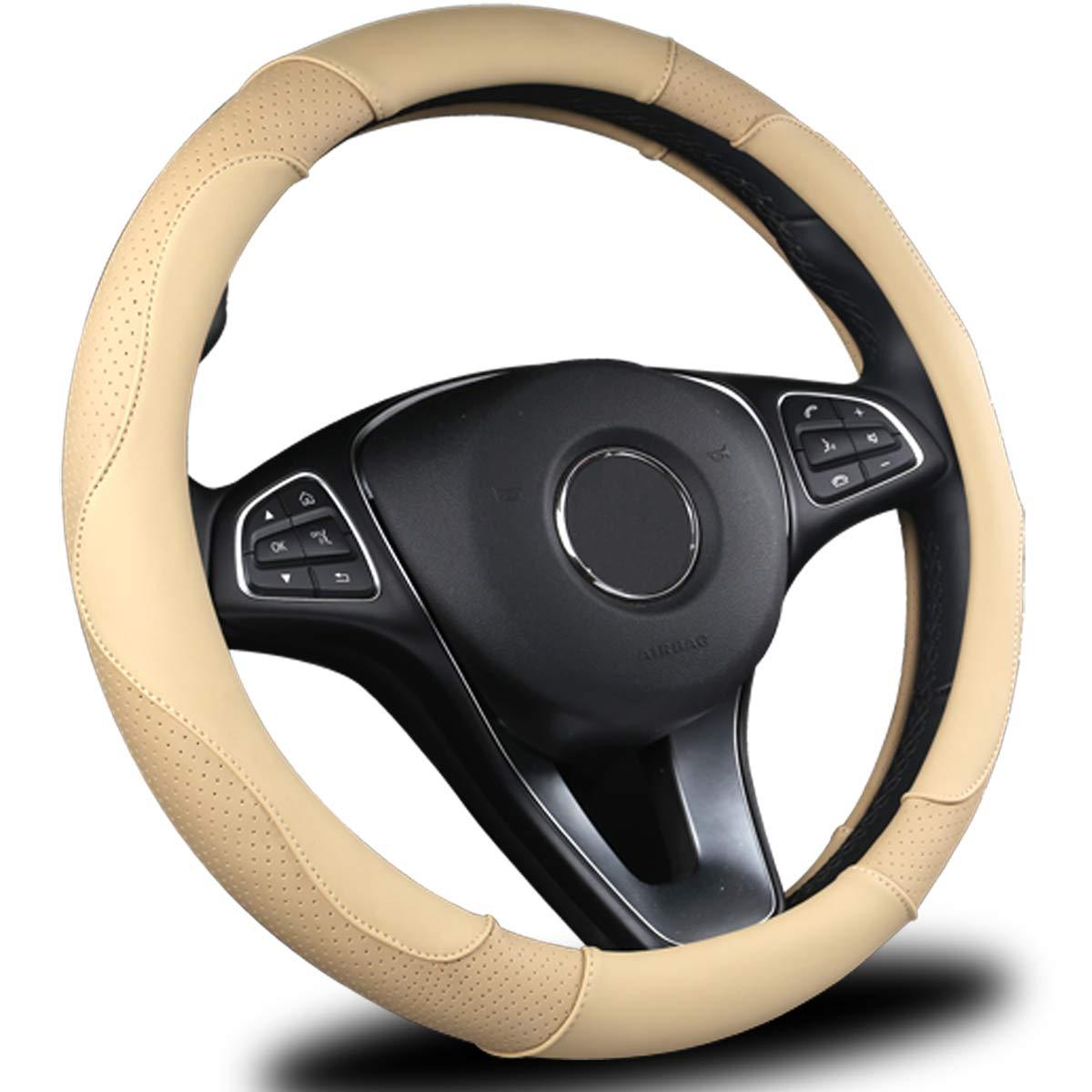 "AmeriLuck Steering Wheel Cover for Car, Universal 15"", Odorless Breathable, Anti-Slip, Sporty, Soft and Snug Grip (Micro Fiber, Beige)"
