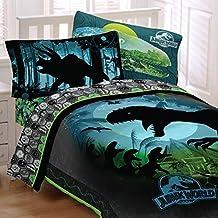 Jurassic World Dinosaurs 5 Piece Full Sized Bedding Set - Reversible Comforter & Sheet Set