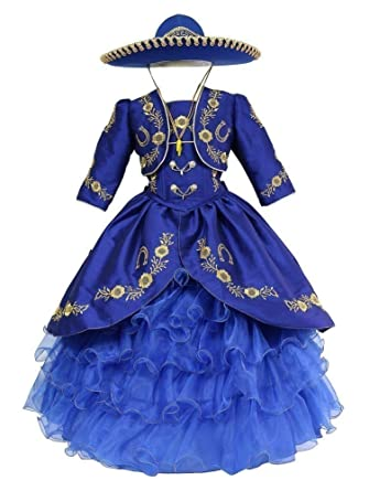024b5e81b6 Calla Collection USA Big Girls Royal Blue Gold Ruffles Embroidery Bolero  Hat Mariachi Dress 8