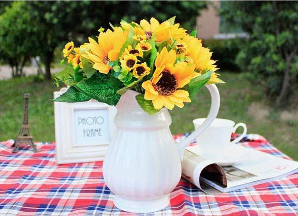 VALUEU Bouquet di girasole artificiale 7 fiori per mazzo per la decorazione domestica Decorazioni per matrimoni Sposa che tiene fiori Decori floreali