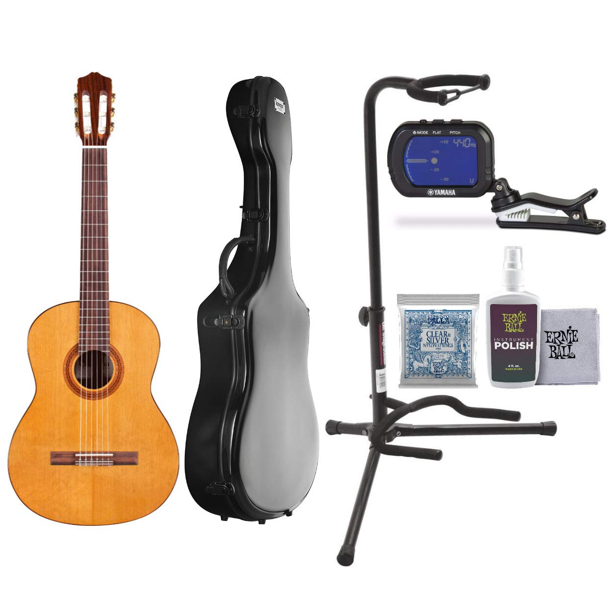 Cordoba C5 Classic Guitar with Knox Fiberglass Case, 3 sets of Extra Strings, Polish with Cloth, Guitar Stand and Tuner