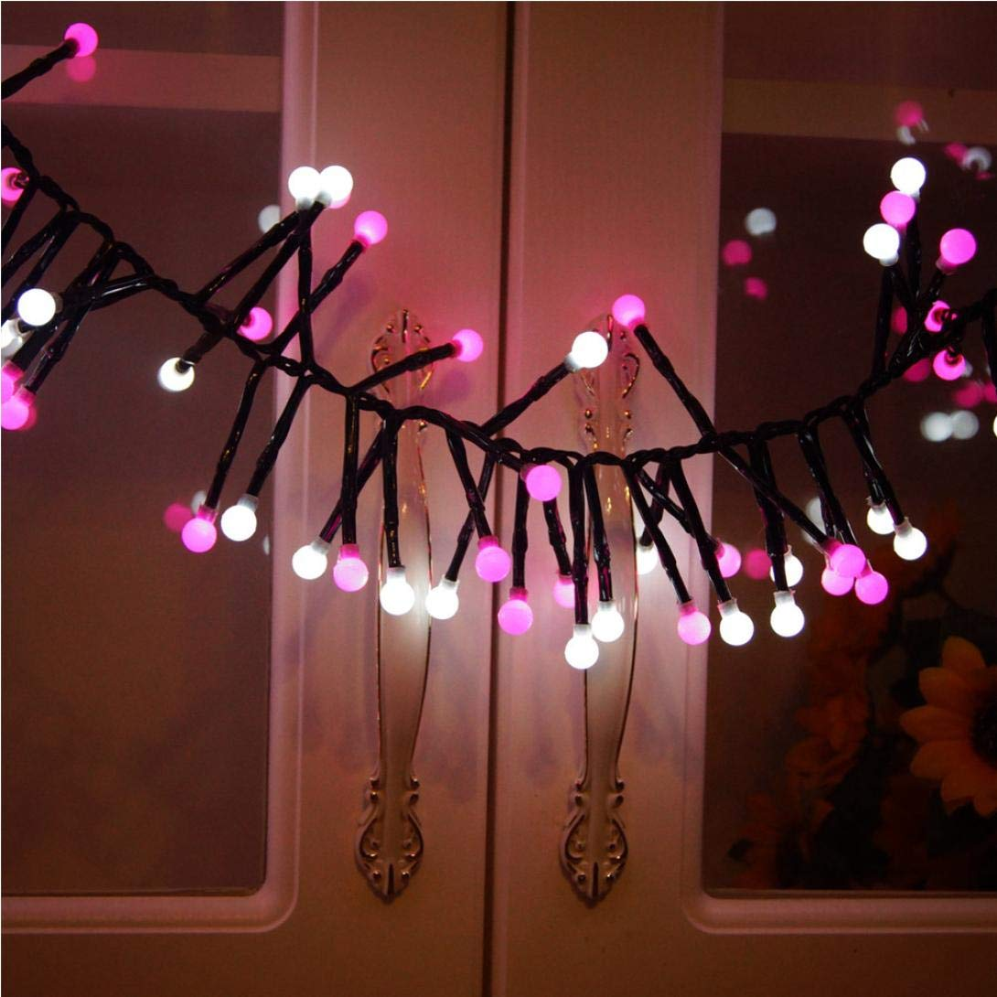 Glumes LED String Lights Firecracker Lamp, 400 LED 9.8ft 8 Modes Hanging Indoor Outdoor Decoration for Christmas Party Wedding Holiday Birthday Garden Patio Bedroom --American Warehouse Shipment (Pink)