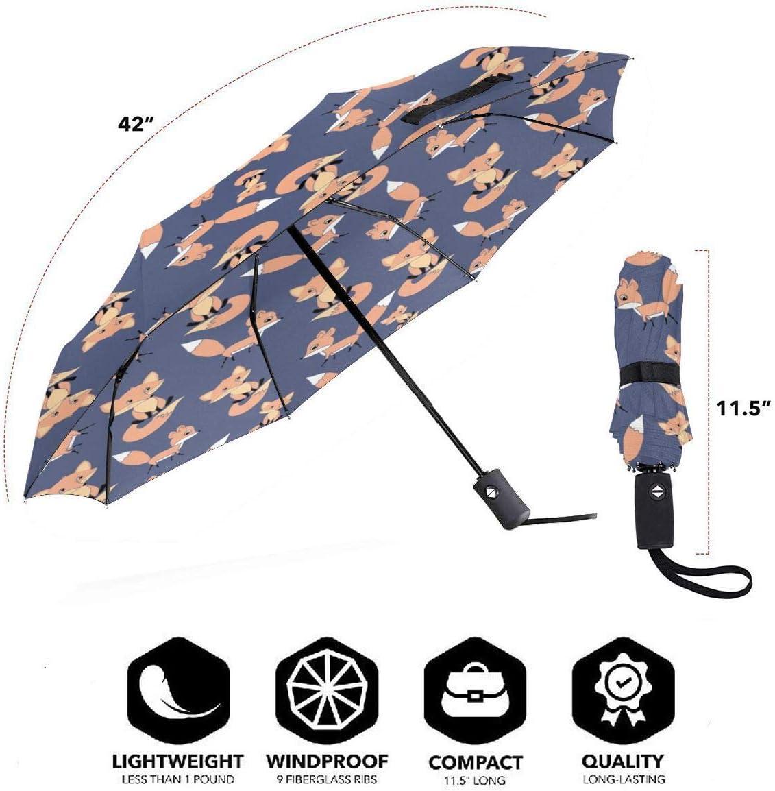Nursery Woodland Animals Automatic Open Folding Compact Travel Umbrellas For Women