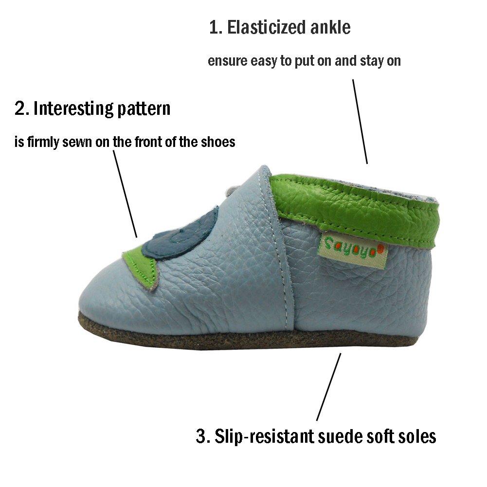 Sayoyo Baby Snails Soft Sole Leather Infant Toddler Prewalker Shoes