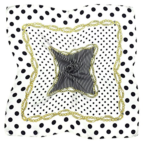 White Spot Silk Scarf (White Black Spot Print Fine Small Square Silk Scarf)