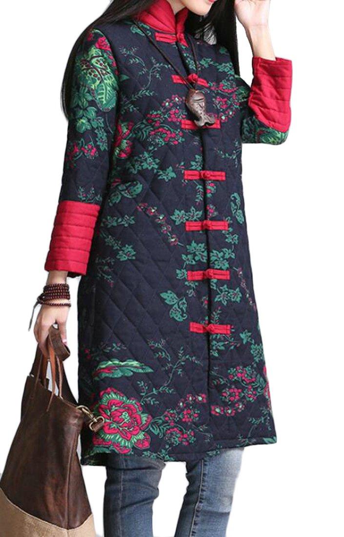 UUYUK-Women Stand Collar Print Chinese Style Wadded Jacket Coat Overcoat Navy Blue US L