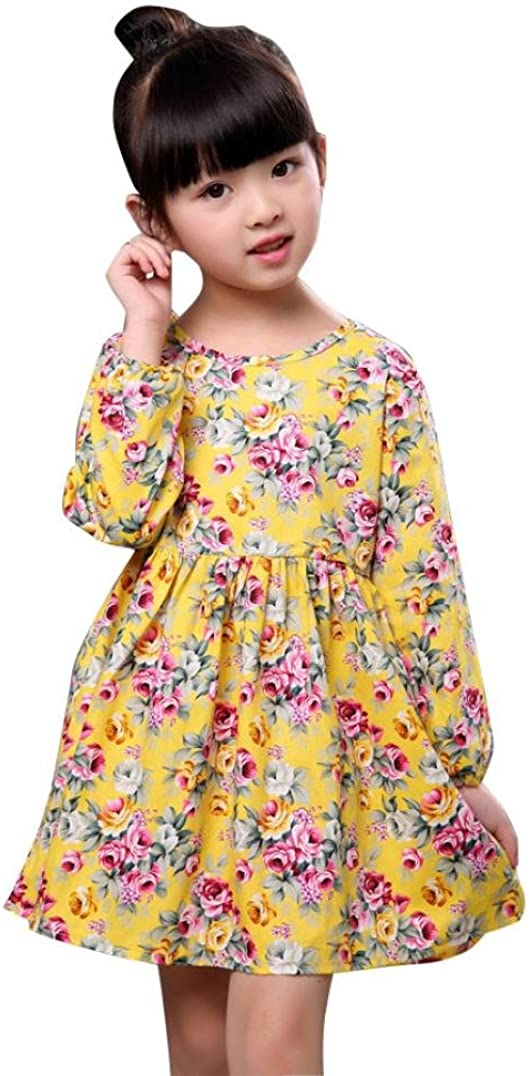 Clode for 1-6 Years Old Fashion Kids Children Girls Clothing Floral Long Sleeve Party Dress