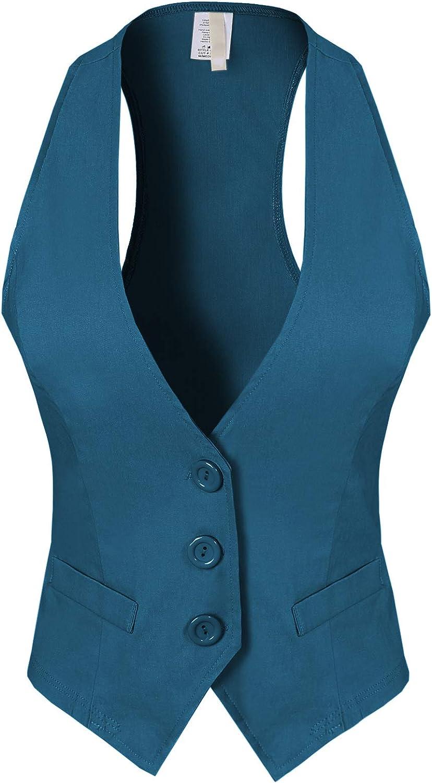 Design by Olivia Women's Dressy Casual Versatile Racerback Vest Tuxedo Suit Waistcoat