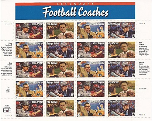 Legendary Football Coaches Sheet of Twenty 32 Cent Stamps Scott - Sunglasses Legendary