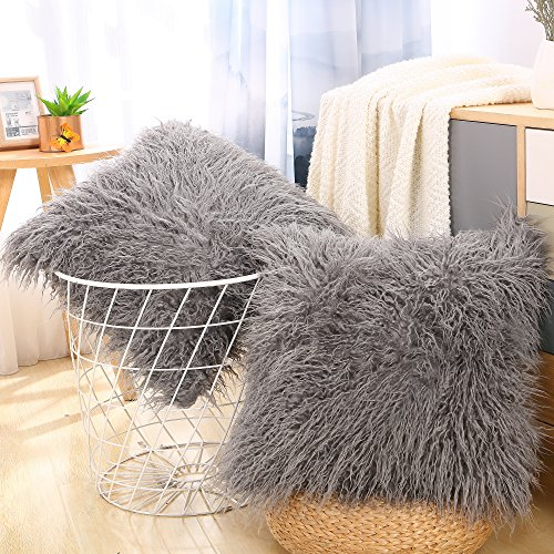 Decorative Fur Throw Pillow Cover Case Cushion Cover for Sofa Bedroom Car 18 x 18 inch 45 x 45 cm Pack of 2