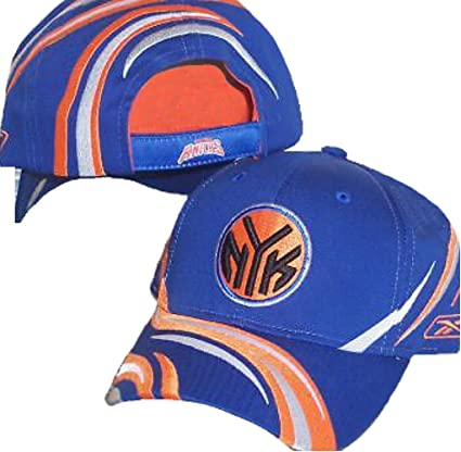 san francisco d1394 bf3c9 Image Unavailable. Image not available for. Color  New York Knicks Reebok  Structured Adjustable NBA Authentic Hat Cap Striped Design - Blue ...